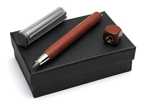3er Schreibset aus Bleistift Fallminenbleistift workman long + Spitzer in mahagoni + Nachfüllminen Graphit 5,5 mm HB Fallminenstifte mit D = 5,5 mm, im schwarzen Geschenk Karton, Made in Germany