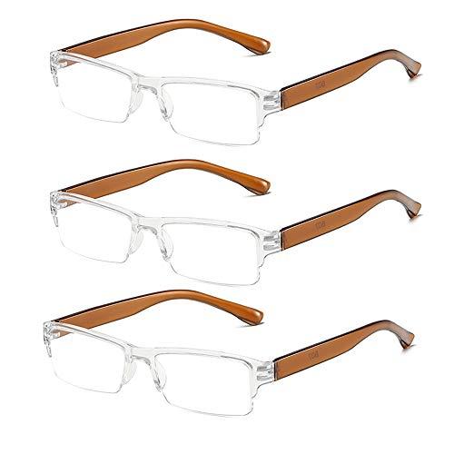 CGX Value 3 Pack Gafas de Lectura Lentes para la visión contra la Fatiga Ocular Cómodas Gafas para lectores Libro,computadora,aplicación Nocturna Reducir la Fatiga Visual Gafas para Hombre y Mujer