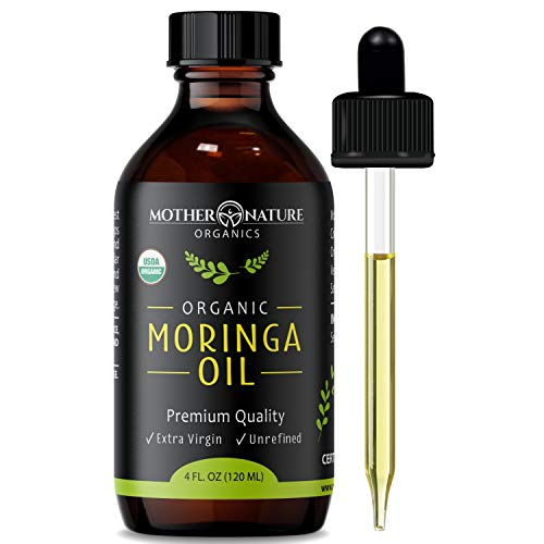 USDA Organic Moringa Oil - Highest Quality, Cold-Pressed, Unrefined, non-GMO - 4 Ounce Glass Bottle with Dropper - For Face,...
