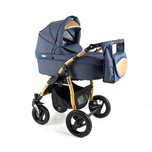 Poussette combinée3en1 2in1 Isofix Buggy Siège auto Zod by ChillyKids Blue Gold Zg-01 2en1 sans siège bébé