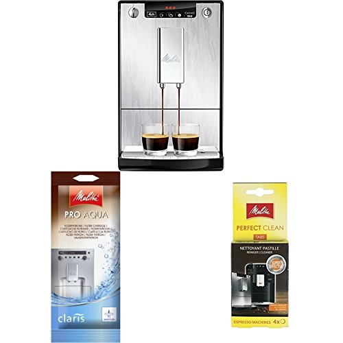 Melitta Caffeo Solo E950-111 Schlanker Kaffeevollautomat mit Vorbrühfunktion, Silver + Filterpatrone für Kaffeevollautomaten + Reinigungstabs Kaffeevollautomaten Perfect Clean Espresso 4 Tabs