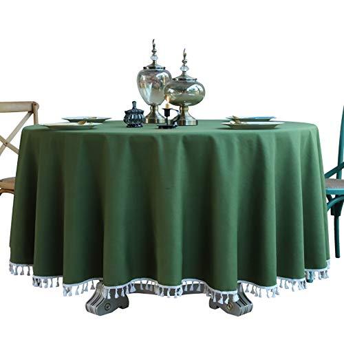 DJUX Mantel Redondo de Encaje hogar algodón y Lino hogar Grande Redondo Verde Azul Color sólido a Prueba de Polvo Mantel Mantel 240cm