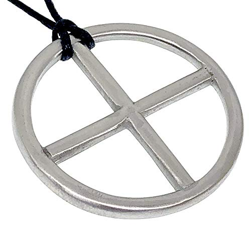 Sun Wheel Solar Cross Circle Jewelry Neo-paganism Norse Viking Celtic Wicca Pagan Protection Amulet Silver Pewter Unisex Men's Pendant Necklace Medallion Charm for men Black Adjustable Cord