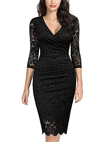 Miusol Women's Retro Deep-V Neck Ruffles Floral Lace Evening Pencil Dress (Large, D-Black)