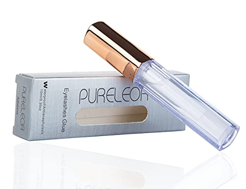 PURELEOR Clear Eyelash Glue Waterproof Professional Latex Free Glue for Sensitive Eye Strong Hold False Eyelashes Adhesive for Strip Lashes Fast Drying Lash Glue 10ml 0.35oz