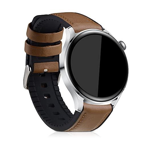 kwmobile Pulsera Compatible con Huawei Watch 3 / Watch 3 Pro - Correa marrón/Negro de Cuero y Silicona para smartwatch