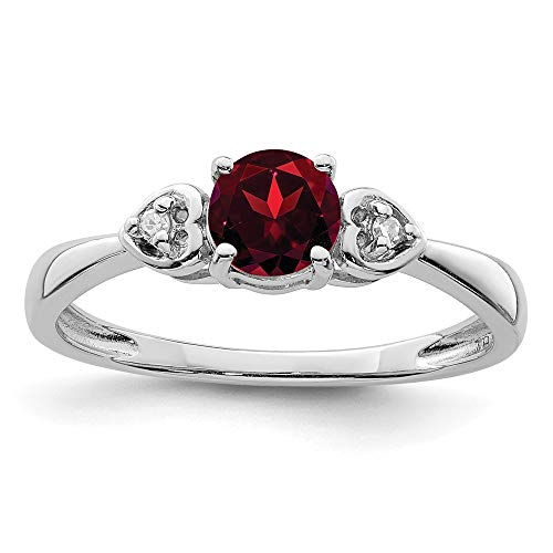 925 Sterling Silver Diamond Red Garnet Band Ring Size 7.00 Gemstone Fine Jewellery For Women Gifts For Her