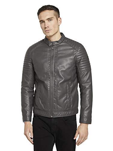 Tom Tailor 1023172 Bikerstyle Chaqueta de Cuero sinttico, 26306 Stone Grey Fake Leather, XXXL para Hombre