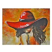 aksldf フルスクエア5dダイヤモンド絵画赤い帽子の女性DIYダイヤモンド刺繡家の装飾モザイクダイヤモンド画像モザイク絵画-30x40cmフレームなし