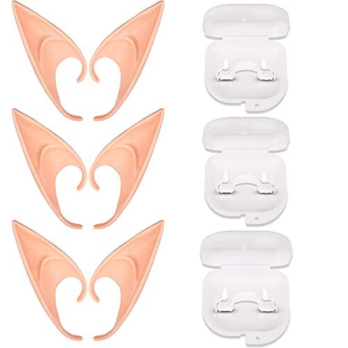RUIOMII Orejas de elfo dientes de vampiro orejas de ltex colmillos de vampiro 3 pares accesorios de disfraces de cosplay regalo de fiesta de Halloween