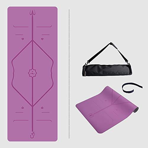 Home Gyms Yoga Mat, Professionista Classico Yoga Mat TPE Protezione Ambientale Antiscivolo Fitness Materassino Ginnico, Dotata di Yoga, Palestra Fitness Cinghie Mat 183 X 68 X 0,5 cm (Color : Purple)