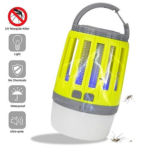 Elektrisch UV Lampe Moskito Killer, 2-In-1 Insektenvernichter Mückenlampe Fliegenfalle LED Laterne, IP67 Wasserdichte Tragbare Mückenvernichter Zeltlampe USB Wiederaufladbar für Innen Aussen Camping