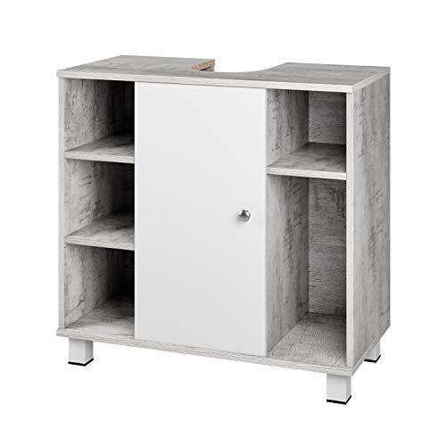 Waschbeckenunterschrank Bad aus Holz eintüriger Waschtischunterschrank Badezimmerschrank mit 7 Fächern Unterschrank für Waschbecken grau/weiß 60x60x30 cm