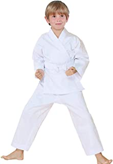 FLUORY Karate Uniform with Free Belt, White Karate Gi for Kids & Adult Size 000-6