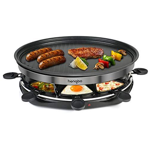 Hengbo Raclette Grill Rund mit Antihaft für 8 Personen, 8 Pfännchen und 4 Holzspatel, Regelbarer Thermostat, 1500 Watt