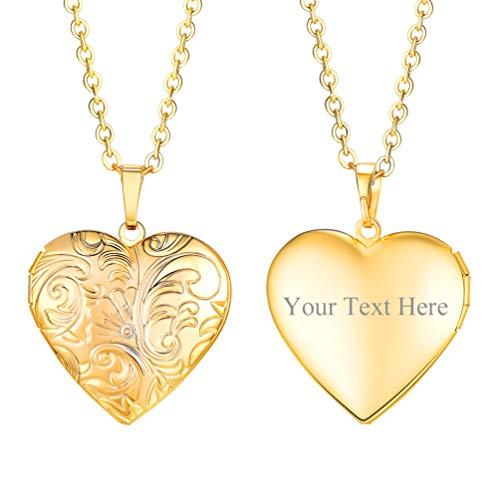 PROSTEEL Collar Mujer Personalizable Colgante de Guardapelo en Forma de Corazón Acero Inoxidable Regalo para Mujer