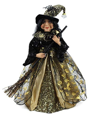 18' Gold & Black Tabletop Fabric Halloween Fall Harvest Witch Collectible Figure Figurine 918004