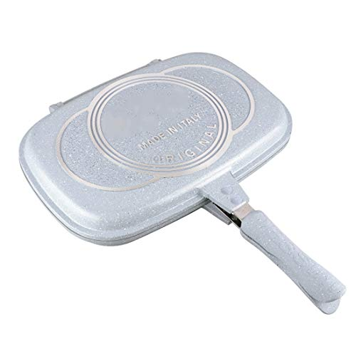 BB&UU Not-stick Grill Pan,Square Grill Cookware,Korean Flip Double Grill Pan,Iron Griddle Pan,Metal Skillet With Handle PFOA-FREE For Home Restaurant Blue 40cm/16inch