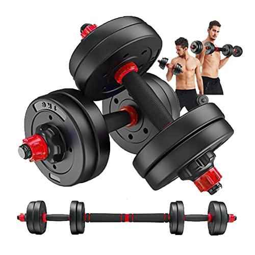 【3 in1 連結可能】ダンベル 可変式 ダブルナット 10kg 20kg 30kg 40kg 2個セット バーベルにもなる ダンベル 筋力トレーニング 無臭素材 静音 (赤10kg(5kgx2)-S1)