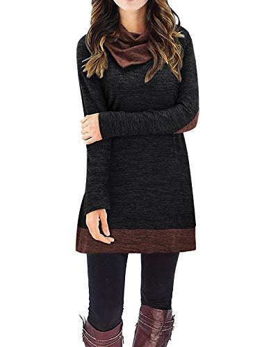STYLEWORD Women's Cowl Neck Sweater Tops Long Sleeve Elbow Patchs Patchwork Casual Tunics(Black,XXL)