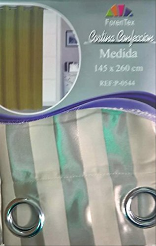 ForenTex - Cortina Opaca (P-0544), Beige, 145 x 260 cm, Curtain Aislante de Calor y Frio, reducción Ruido, Anti Polvo, Acabados ollaos Acero