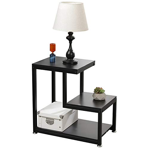 DlandHome Nightstand Table Bedside Table End Table Sofa Side Table Console Table 15.7inches+11.8inches, Black DX-C00200-BK