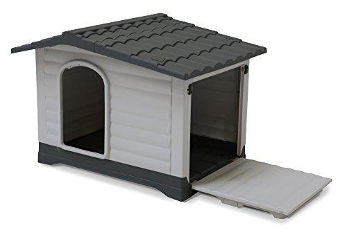 SAUERLAND Kunststoff Hundehütte mit Satteldach, grau/anthrazit, Allwetter, Eingang Längsseite