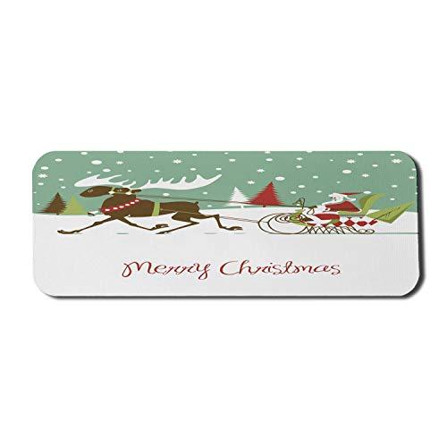 Weihnachten Computer Mouse Pad, Frohe Weihnachten Schriftzug Santas Schlitten mit Rentier Snowy Woods Retro-Stil, Rechteck rutschfeste Gummi Mousepad große mehrfarbig