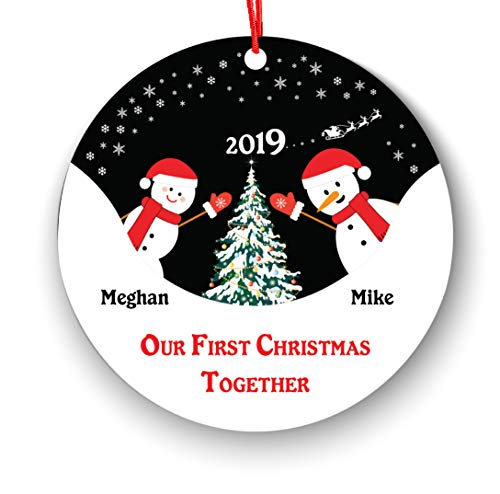 Our First Christmas Together Christmas Ornament Personalized - New Couple Lover 2018-1st 2nd Married Christmas Ornament First Married Christmas - Personalized Newlywed Christmas Ornament 2018