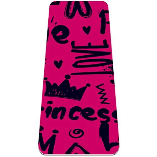 Esterilla de ejercicio de yoga de 72 x 32 pulgadas, respetuosa con el medio ambiente, superficie de goma natural con alineación corporal, princesa rosa rojo amor