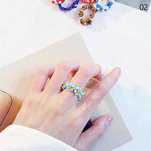 CTDMMJ Mehrfarbige kleine Blumen Reis Perlen Ring Mädchen Schmuck handgemachte Webart Eheringe