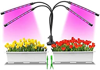 Grow Light, 80W Tri Head Timing 80 LED 9 Dimmable Levels Plant Grow Lights for Indoor Plants with Red Blue Spectrum