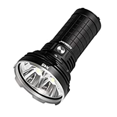FLASHLIGHTS HIGH LUMENS: Utilized 4 Pieces Cree XHP70.2 6500K LEDs, Max output reaches 18000 lumens ULTRA-LONG DISTANCE: Max beam distance goes 583 meters. EASY TO USE: The side switch is controlled all functions through easy one-handed operation WAT...
