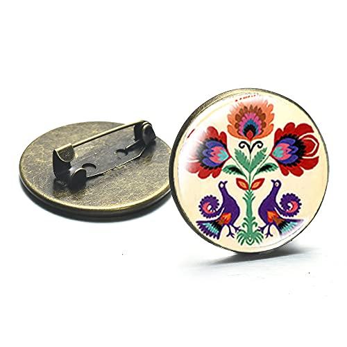 Bohemia estilo polaco arte popular patrones broche lindo polaco folk papel cortado floral pájaro arte solapa Pin insignias bolsa tela decoración