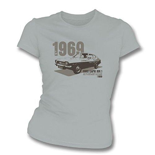 TshirtGrill Mädchen T-Shirt Ford Capri MK1, Slim-Fit, Größe XL, Grau