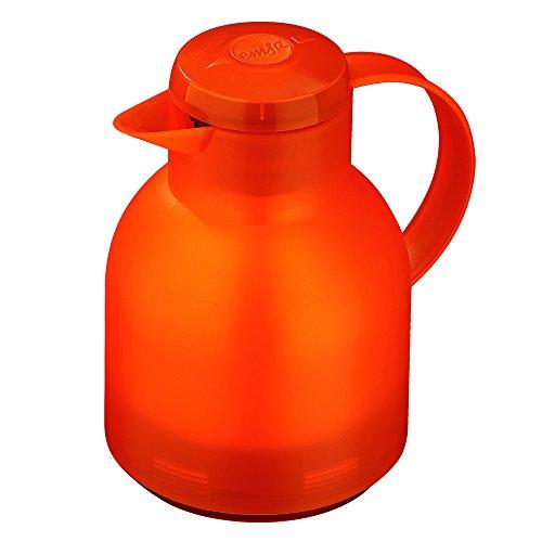 Emsa Samba Isolierkanne 504234 | 1 Liter | Quick Press Verschluss | 100{cf0d00b9e00f146c1578febdd91e19b9164fe84c8efba2b4508ffb64e3bd761c} dicht | 12h heiß, 24h kalt | Orange Transluzent