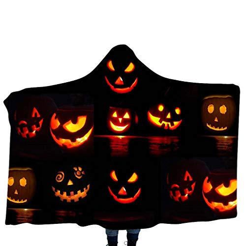 INLLADDY Cape KostüM Kinderdecke Pumpkin/Skelett Printing Kapuzendecke Home Decke Kinderdecke Schal Halloween Cosplay Costume F 135cm-175cm