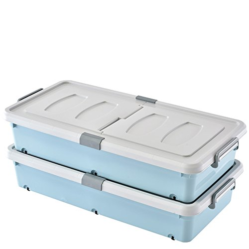 Boîte de rangement au fond du lit, boîte de rangement en plastique, boîte de rangement, boîte de rangement pour vêtements (Couleur : Blue, style : 2)
