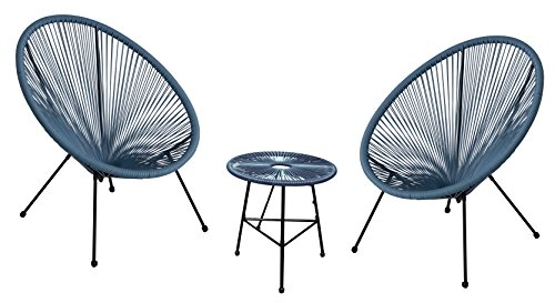 Autrefois Ensemble de Salon de Jardin et d\'intérieur, 2 chaises et Une  Table, Design Acapulco, Fils Bleu Pétrole