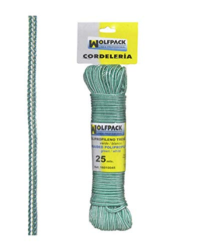 WolfPack 16010045 Cuerda Trenzada Polipropileno Blanca/Verde