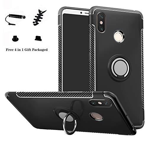 LFDZ Xiaomi Mi Max 3 Hülle, 360 Rotation Verstellbarer Ring Grip Stand,Ultra Slim Fit TPU Schutzhülle für Xiaomi Mi Max 3 (mit 4in1 Geschenk Verpackt),Schwarz