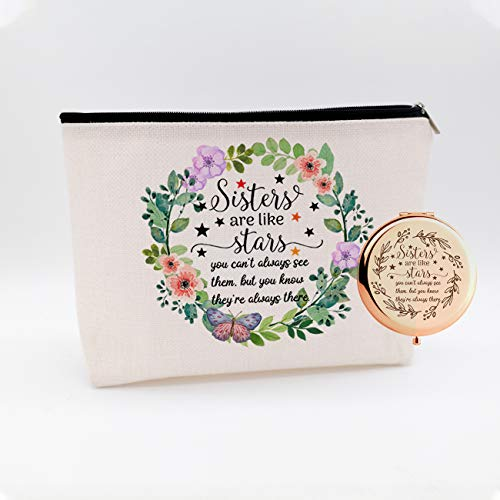 WIEZO-USA Sisters are Like Stars,Funny Long Distance Friendship Gift,Birthday for Women,Best Friend,Soul Sister,BFF,Waterproof Cosmetic Bag Makeup Bag and Travel Rose Gold Mirror,Set 2 Pcs
