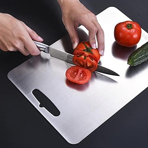 304 bloque de cortar de acero inoxidable verduras frutas carnes tabla de cortar de pan Anti-moho antideslizante bloques de cortar de cocina herramientas-290x200x2mm