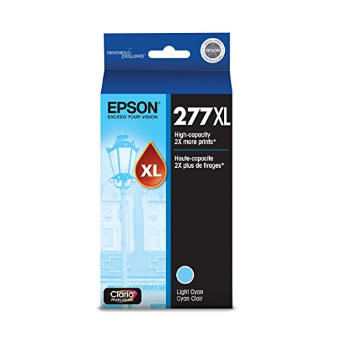 EPSON T277 Claria Photo HD Ink High Capacity Light Cyan Cartridge (T277XL520-S) for Select Epson Expression Printers
