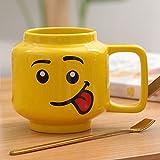 XMYNB Tazza Mug 250Ml Coppa In Ceramica Lego Tazza Sorriso Espressione Espressione Faccia Cartoon Caffè Latte Tazza Di Tè Carino Tazza Di Bevuta