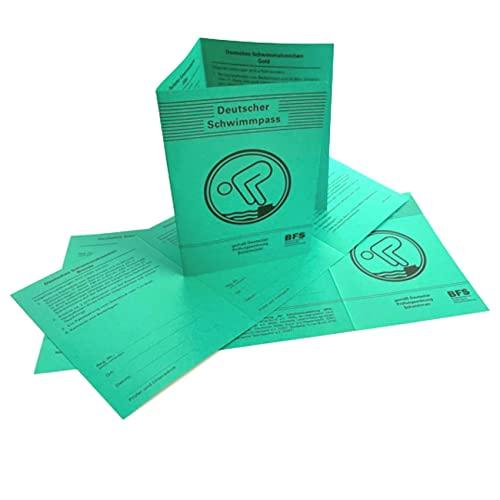 AXIONMARKT 2er Set Deutscher Schwimmpass für Kinder und Erwachsene I offizielle Urkunde in grün umfasst Bronze Silber Gold Schwimmabzeichen Felder inkl. DOSB-Bestätigung aktuelle Version 2021