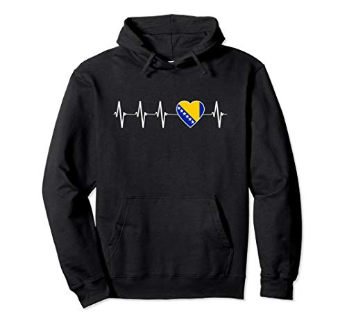 Bosnian Heartbeat I Love Bosnien und Herzegowina Geschenk Pullover Hoodie
