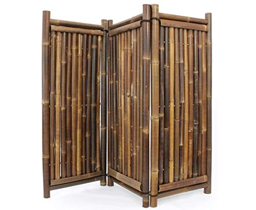 Raumteiler Bambus 150x180 3teilig mit schwarzen Wulung Rohren 4-6cm - in Handarbeit hochwertig gearbeiteter Paravent mit 150x180cm in naturfarben schwarz- braun