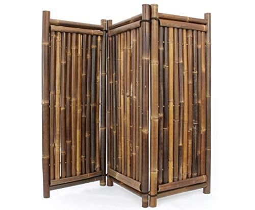 Raumteiler aus schwarzen Bambus, 150 x 180cm 3teilig - Raumtrenner Paravent mobiler Sichtschutz