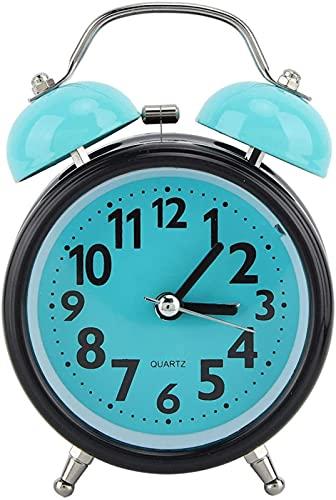 CHUNYU Reloj Despertador con luz Nocturna, Reloj Despertador Que no Hace tictac Reloj Manual de Doble Campana Doble Reloj analógico silencioso con Alarma Fuerte y luz Nocturna para un sueño Profundo